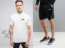 Мужской комплект поло + шорты Nike белого и черного цвета