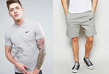 Мужской комплект поло + шорты Nike серого цвета