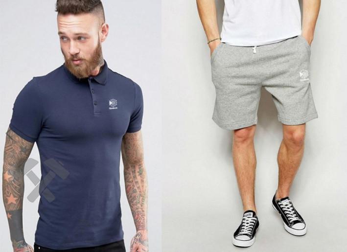 Мужской комплект поло + шорты REEBOK серого и синего цвета