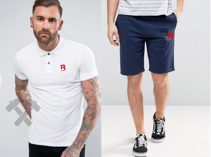 Мужской комплект поло + шорты REEBOK белого и синего цвета
