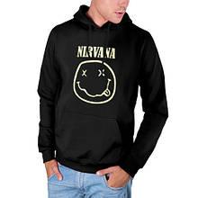 Худи Nirvana черное с лого, унисекс (мужское, женское, детское)