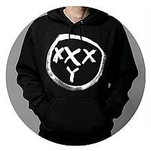 Худи Oxxxymiron черное с логотипом, унисекс (мужское, женское, детское)