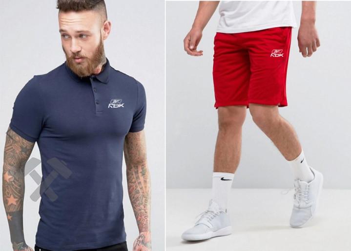 Мужской комплект поло + шорты REEBOK синего и красного цвета