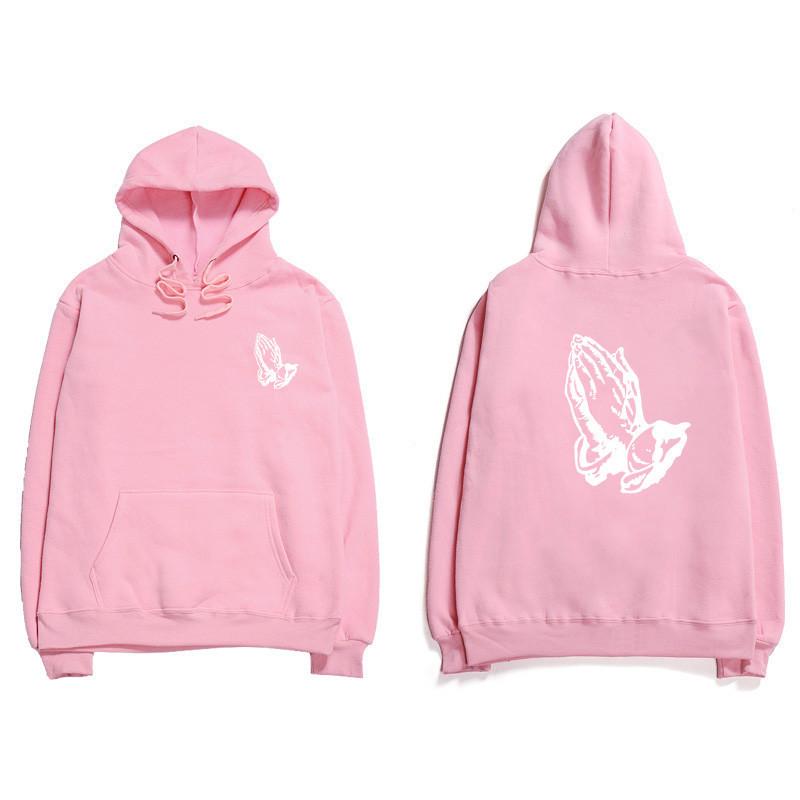 Худи Prayer розовое с логотипом, унисекс (мужское, женское, детское)