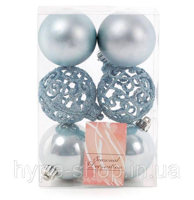 Набор елочных шаров голубой 6 шт 6 см (147-280)