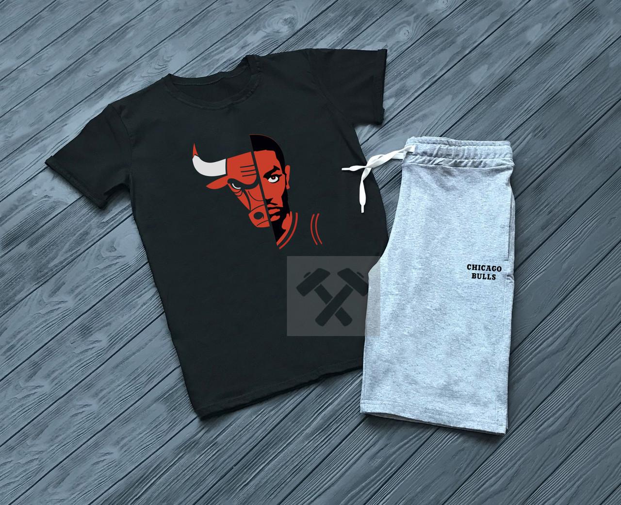 Мужской комплект футболка + шорты Chicago серого и черного цвета