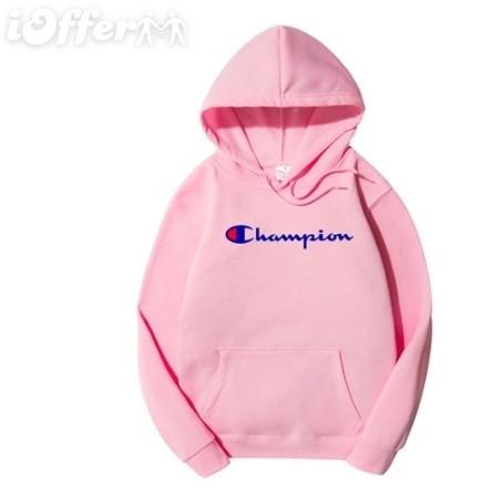 Худи Champion розовое с логотипом, унисекс (мужское, женское, детское)