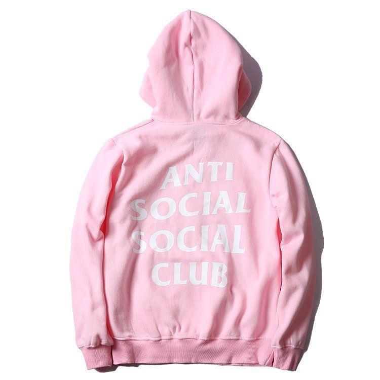 Худи Anti social social club (A.S.S.C), розовое с логотипом , унисекс (мужское, женское, детское)