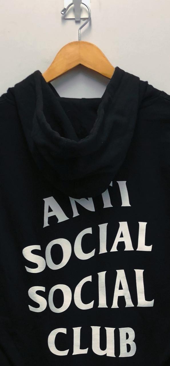 Худи Anti social social club (A.S.S.C) черное с белым логотипом, унисекс (мужское, женское, детское)