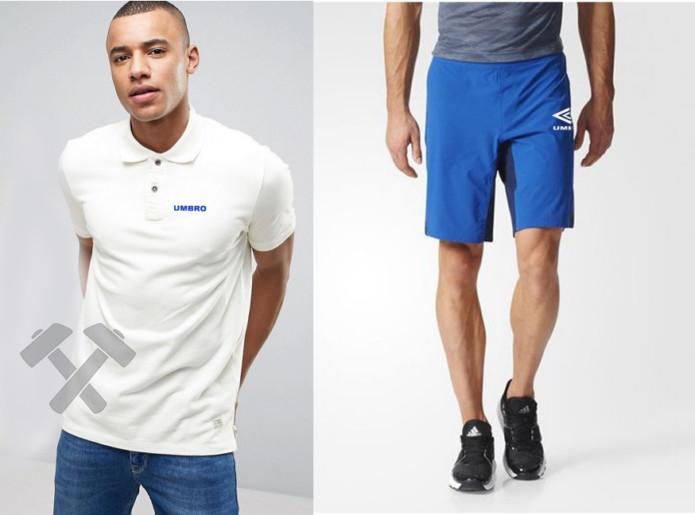 Мужской комплект поло + шорты Umbro белого и голубого цвета