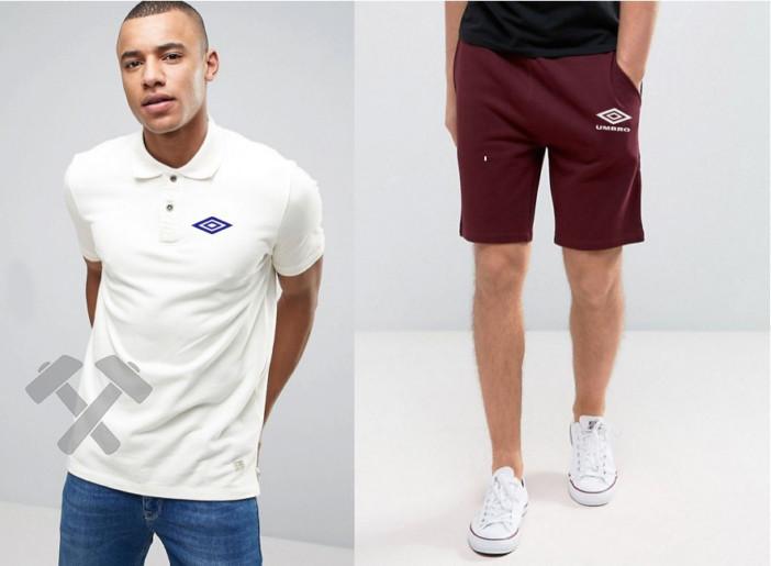 Мужской комплект поло + шорты Umbro белого и красного цвета