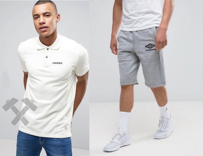 Мужской комплект поло + шорты Umbro белого и серого цвета