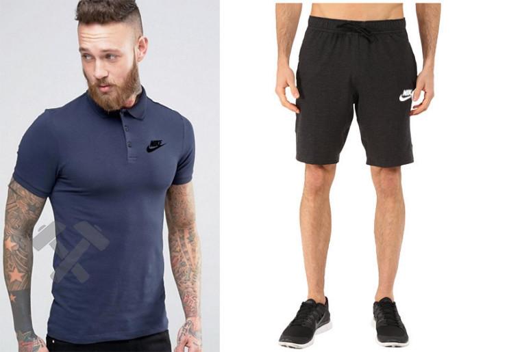 Мужской комплект поло + шорты Nike черного и синего цвета