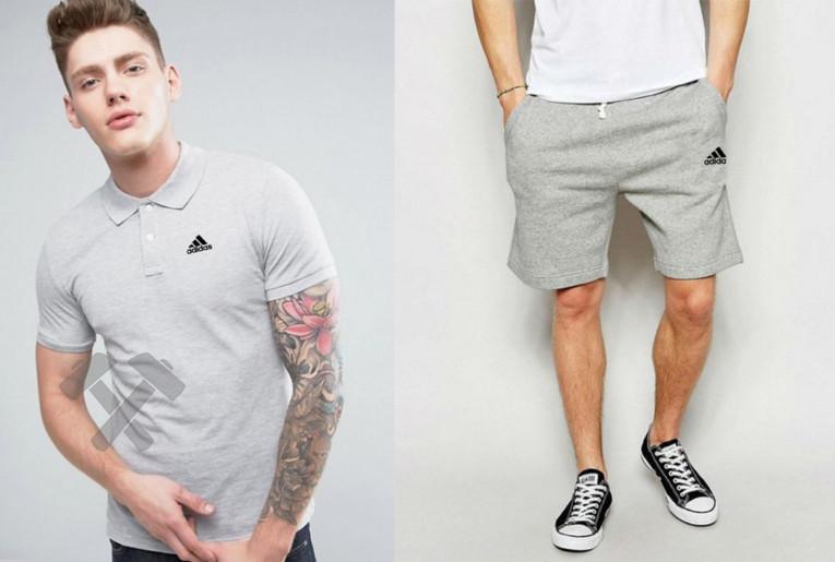 Мужской комплект поло + шорты Adidas серого цвета