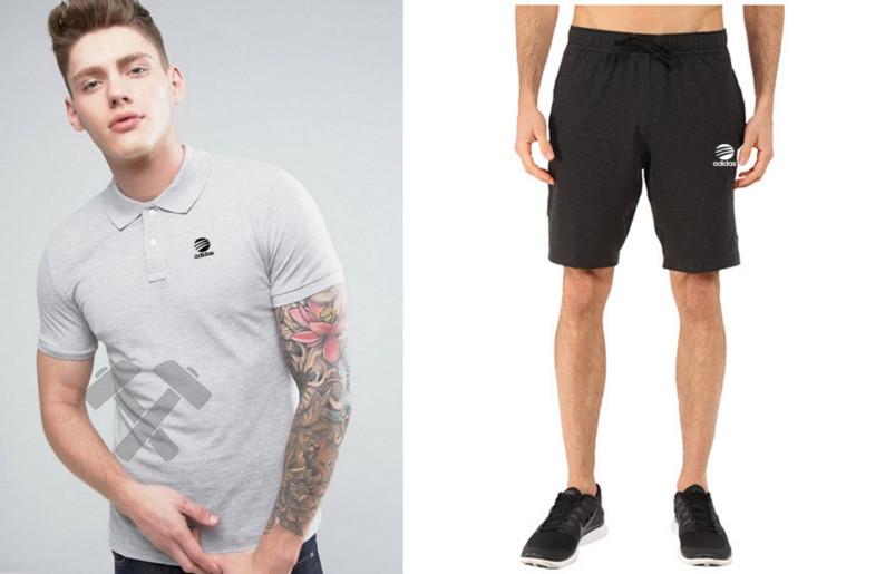Мужской комплект поло + шорты Adidas серого и черного цвета