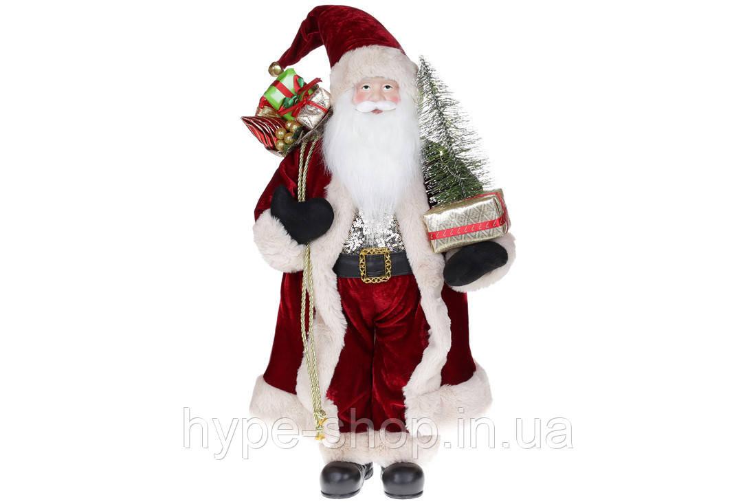 Мягкая игрушка Санта с ёлкой 60см с LED подсветкой, цвет - бордо (845-231)