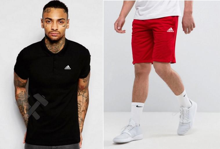Мужской комплект поло + шорты Adidas черного и красного цвета