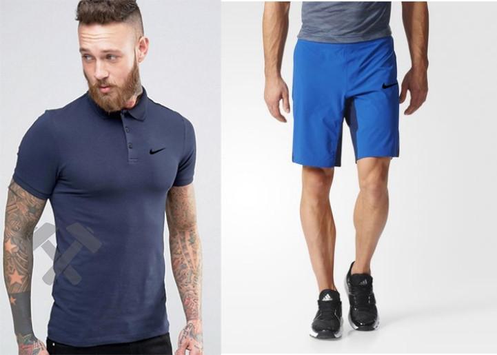Мужской комплект поло + шорты Nike синего и голубого цвета