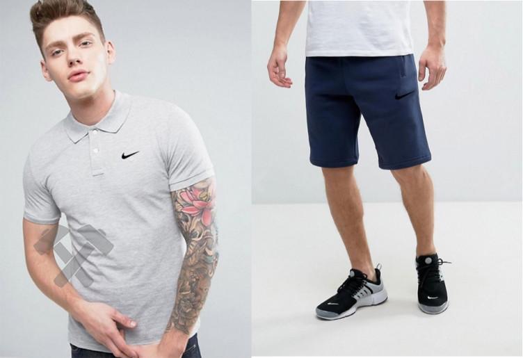 Мужской комплект поло + шорты Nike серого и синего цвета