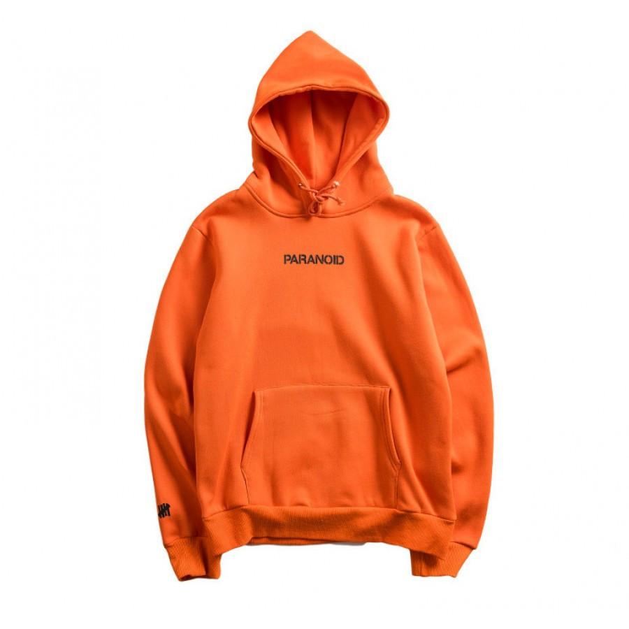 Худи Anti social social club ? Paranoid Undefeated оранжевое с логотипом, унисекс (мужское, женское, детское)