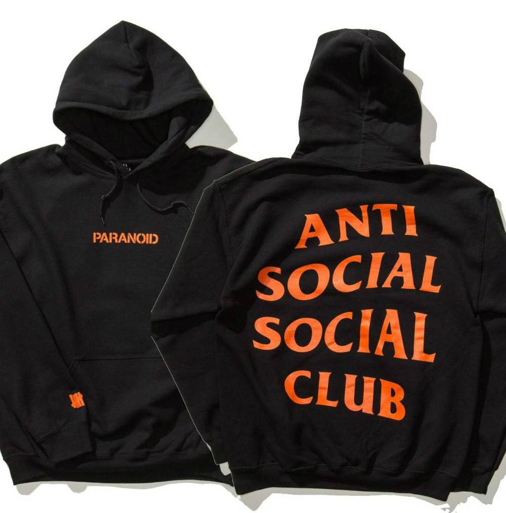 Худи Anti social social club ? Paranoid Undefeated черное с логотипом, унисекс (мужское, женское, детское)