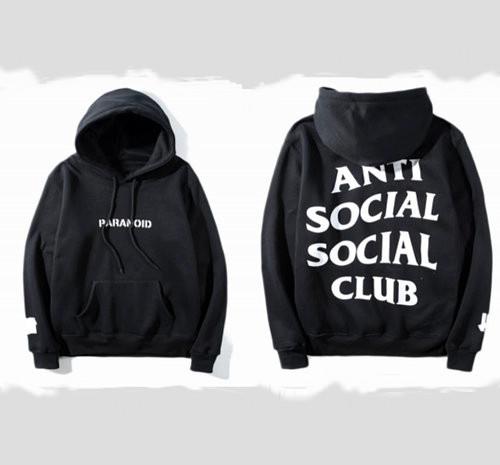 Худи Anti social social club ? Paranoid Undefeated черное с белым лого, унисекс (мужское, женское, детское)
