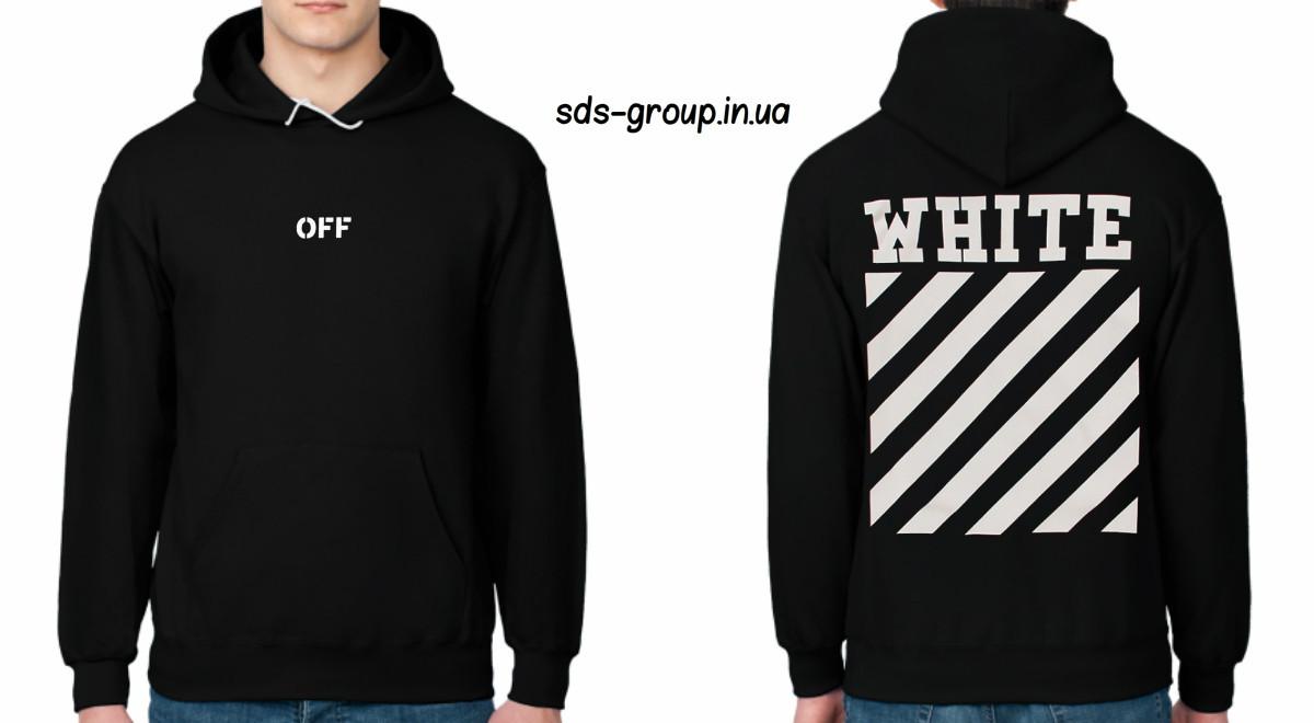 Худи Off White черное с логотипом, унисекс (мужское, женское, детское)