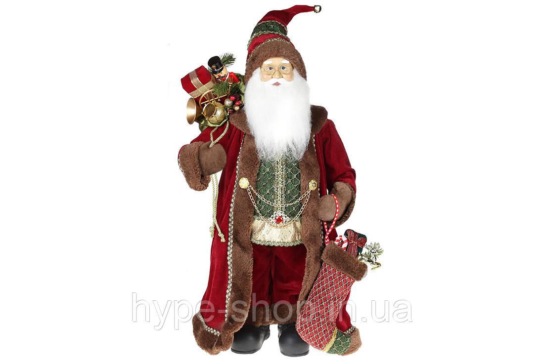 М'яка іграшка Санта 60см, колір - бордо з коричневим хутром (845-222)
