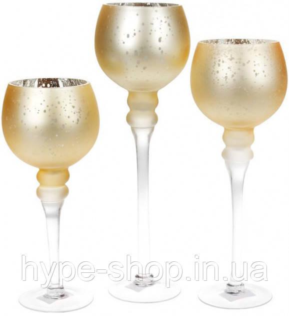 Набор 3 стеклянных подсвечника Claudine 30см 35см 40см матовое золото (psg_BD-527-705)