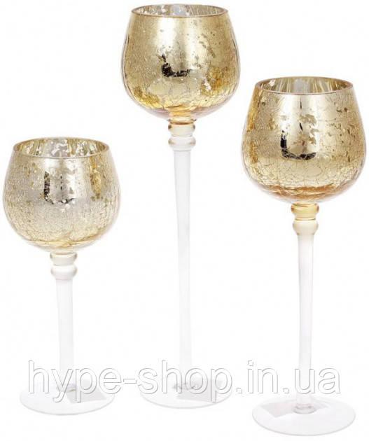 Набор 3 стеклянных подсвечника Isabelle 20см 25см 30см светлое золото (psg_BD-527-700)