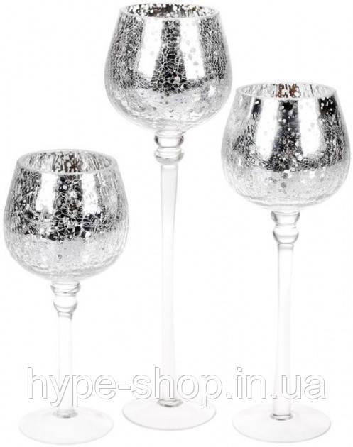 Набор 3 стеклянных подсвечника Isabelle 20 см, 25 см, 30 см, серебро Bona BD-527-701