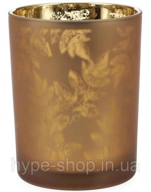 Подсвечник стеклянный Листья 10х12.5 см, коричневый Bona BD-549-133