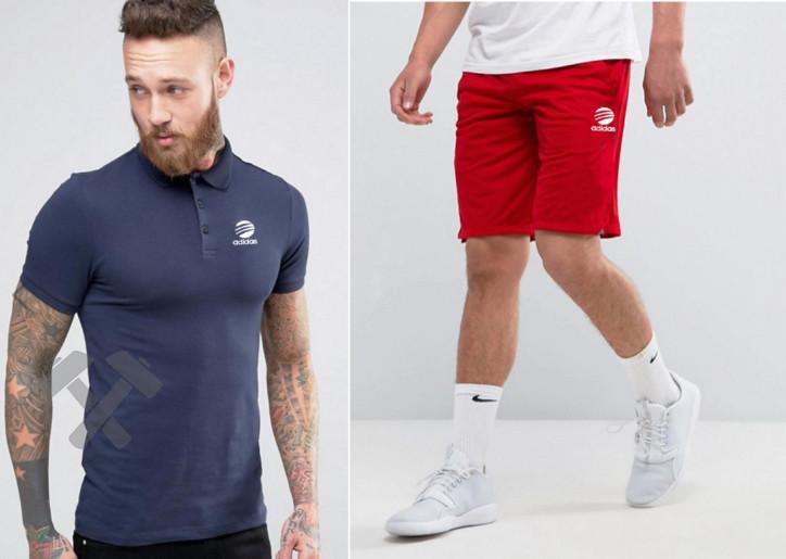 Мужской комплект поло + шорты Adidas синего и красного цвета