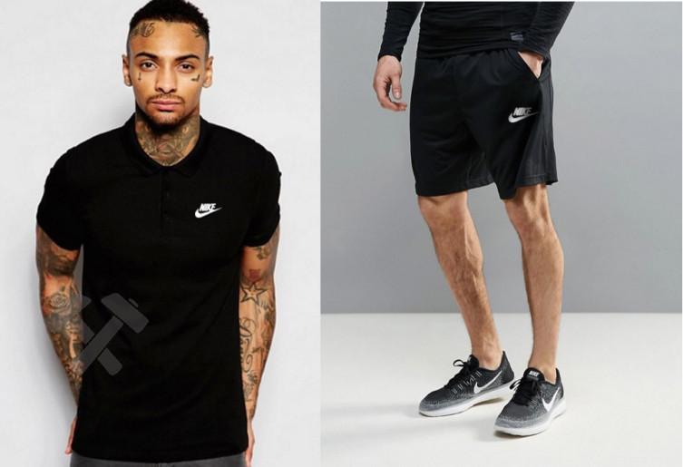 Мужской комплект поло + шорты Nike черного цвета