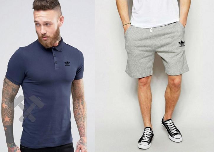 Мужской комплект поло + шорты Adidas синего и серого цвета