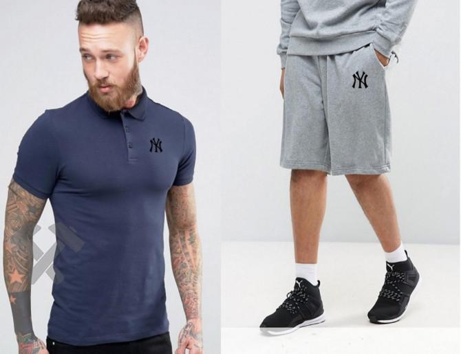 Чоловічий комплект поло + шортыв стилі NEW YORK синього і сірого кольору