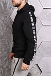 Худи Off-white черное с лентами-лампасами, унисекс, фото 3
