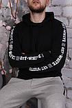 Худи Off-white черное с лентами-лампасами, унисекс, фото 5