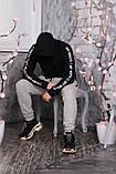 Худи Off-white черное с лентами-лампасами, унисекс, фото 6