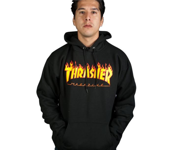 Худи Thrasher Magazine черное с логотипом, унисекс (мужское, женское, детское)