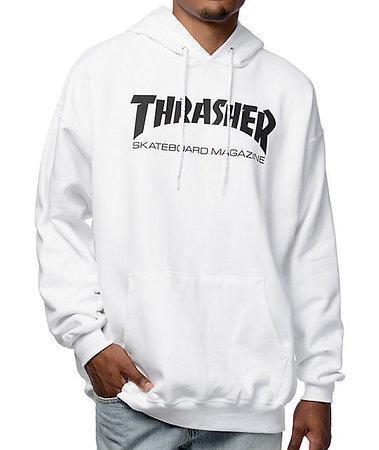 Худи Thrasher белое с черным логотипом, унисекс (мужское, женское, детское)