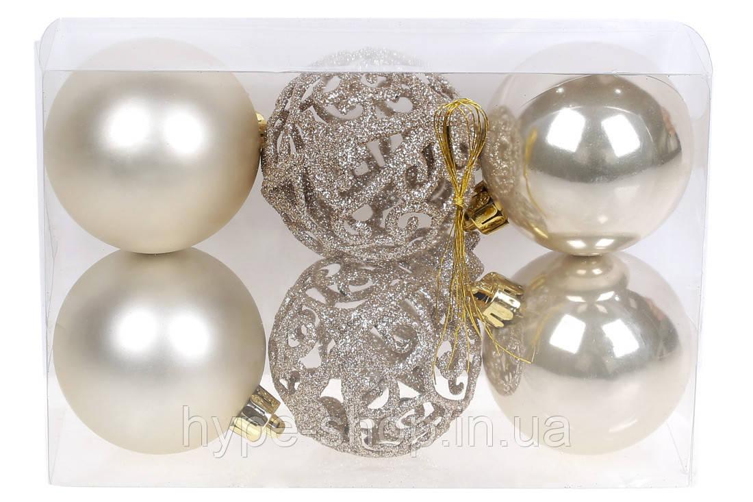Набор елочых шаров Ажур, 6см, цвет - шампань