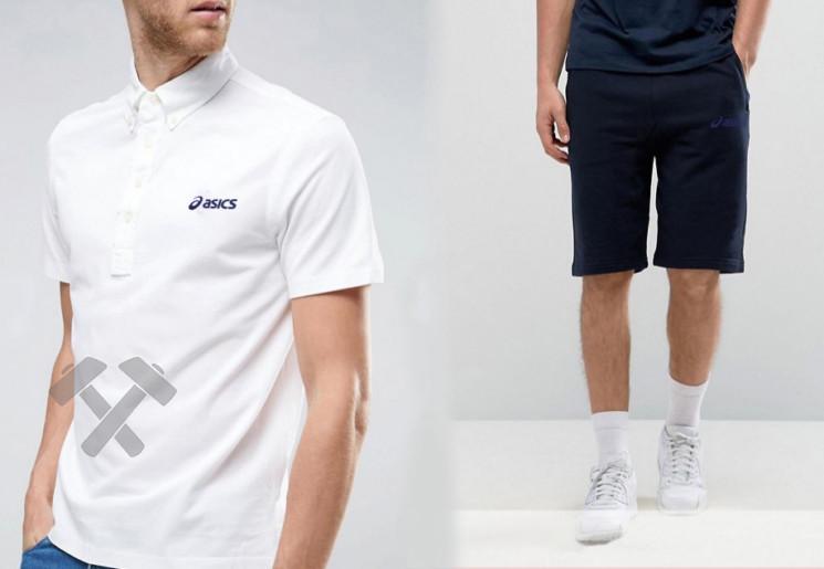 Мужской комплект поло + шорты Asics белого и синего цвета