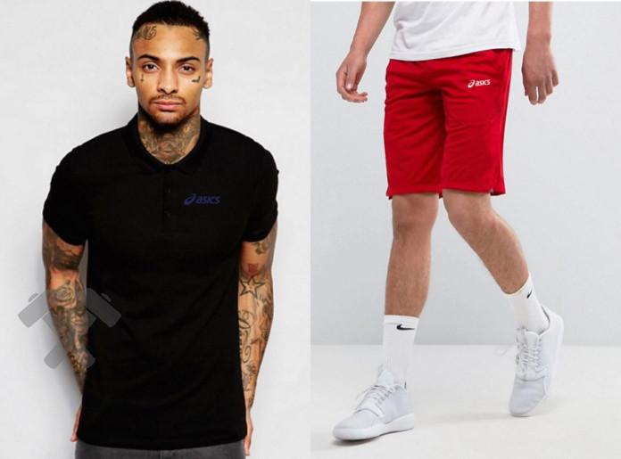 Мужской комплект поло + шорты Asics черного и красного цвета