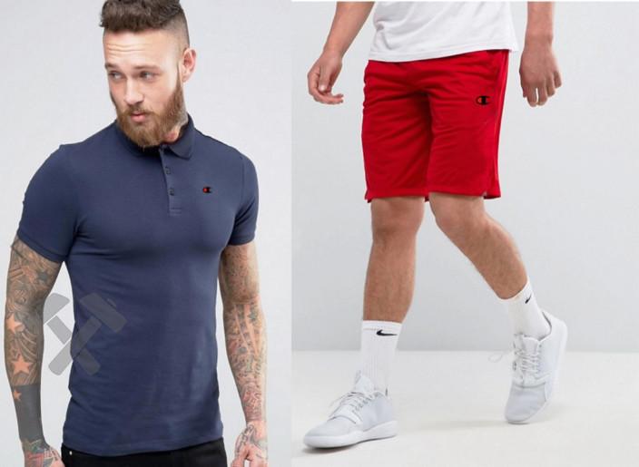 Мужской комплект поло + шортыв стиле Champion синего и красного цвета