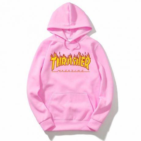 Худи Thrasher розовое с логотипом, унисекс (мужское, женское, детское)