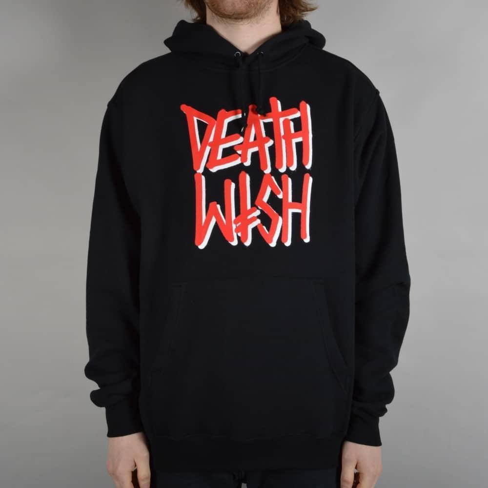 Худи Deathwish черное с красным лого, унисекс (мужское, женское, детское)