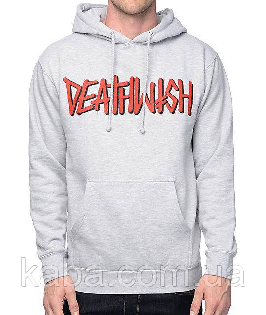 Худи Deathwish серое с логотипом, унисекс (мужское, женское, детское)