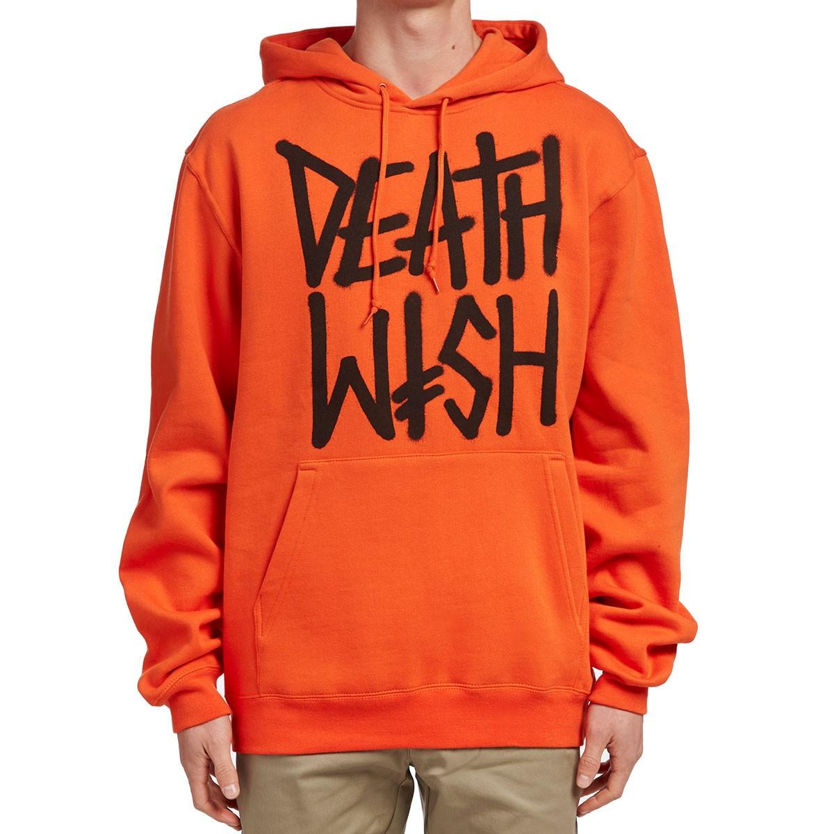 Худи Deathwish оранжевое с логотипом, унисекс (мужское, женское, детское)