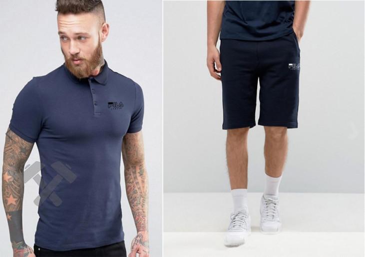 Мужской комплект поло + шортыв стиле FILA черного и синего цвета